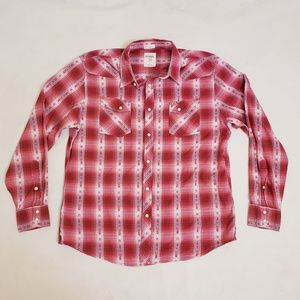 """Fossil """"Vintage Fit"""" Red & White Button Up Shirt"""